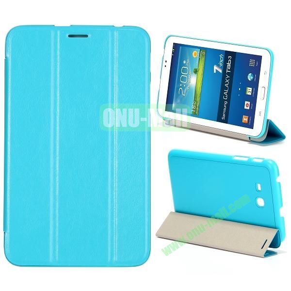 Smooth Texture 3 Folding Stand Leather Case for Samsung Galaxy Tab 3 Lite T110 (Baby Blue)