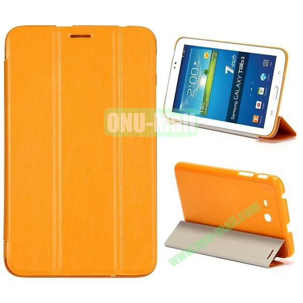 Smooth Texture 3 Folding Stand Leather Case for Samsung Galaxy Tab 3 Lite T110 (Orange)