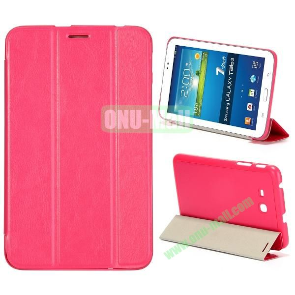Smooth Texture 3 Folding Stand Leather Case for Samsung Galaxy Tab 3 Lite T110 (Pink)