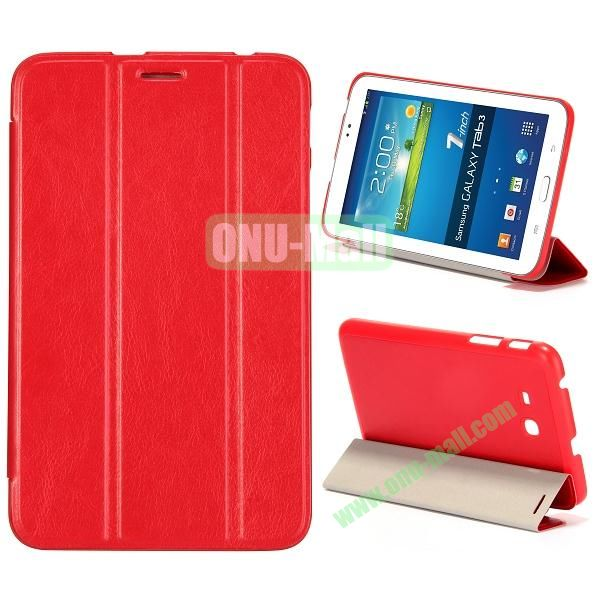 Smooth Texture 3 Folding Stand Leather Case for Samsung Galaxy Tab 3 Lite T110 (Red)