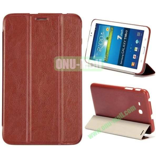 Smooth Texture 3 Folding Stand Leather Case for Samsung Galaxy Tab 3 Lite T110 (Brown)