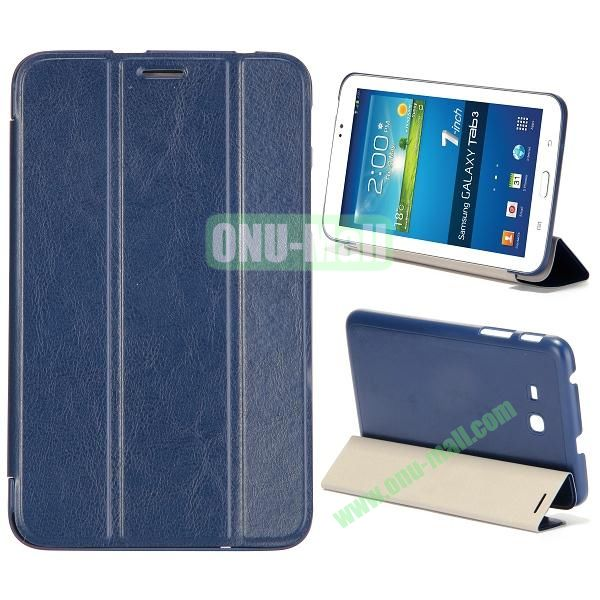 Smooth Texture 3 Folding Stand Leather Case for Samsung Galaxy Tab 3 Lite T110 (Blue)