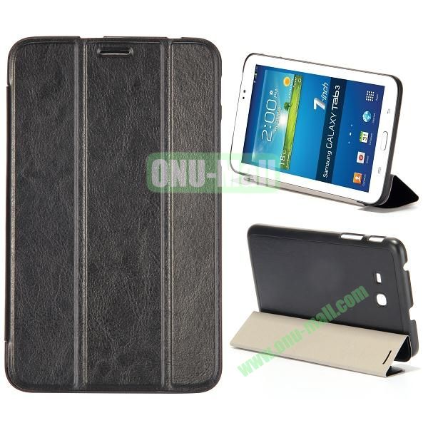 Smooth Texture 3 Folding Stand Leather Case for Samsung Galaxy Tab 3 Lite T110 (Black)