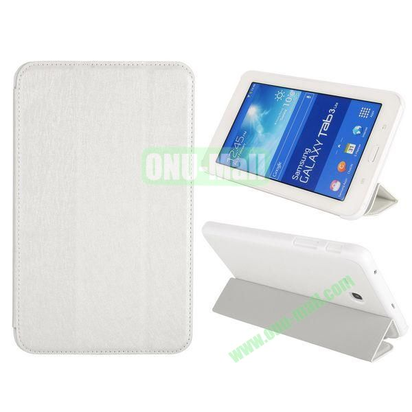 Silk Texture 3 Folding Leather Cover for Samsung Galaxy Tab 3 Lite T110T111 ( White )