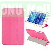 Silk Texture 3 Folding Leather Cover for Samsung Galaxy Tab 3 Lite T110T111 ( Rose )