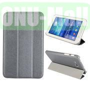 Silk Texture 3 Folding Leather Cover for Samsung Galaxy Tab 3 Lite T110T111 ( Grey )