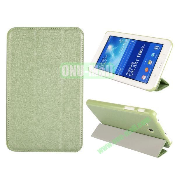 Silk Texture 3 Folding Leather Cover for Samsung Galaxy Tab 3 Lite T110T111 ( Green )
