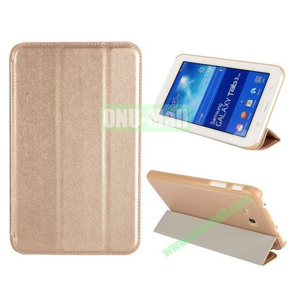 Silk Texture 3 Folding Leather Cover for Samsung Galaxy Tab 3 Lite T110T111 ( Champagne )