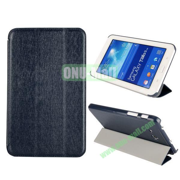 Silk Texture 3 Folding Leather Cover for Samsung Galaxy Tab 3 Lite T110T111 ( Dark Blue )