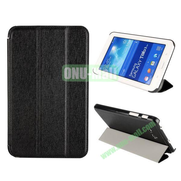 Silk Texture 3 Folding Leather Cover for Samsung Galaxy Tab 3 Lite T110T111 ( Black )