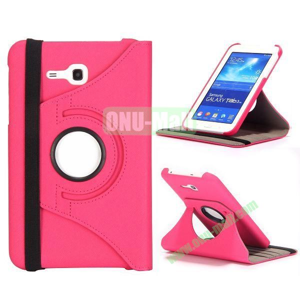 360 Rotation Cowboy Cloth Texture Leather Cover for Samsung Galaxy Tab 3 Lite T110 T111 (Rose)