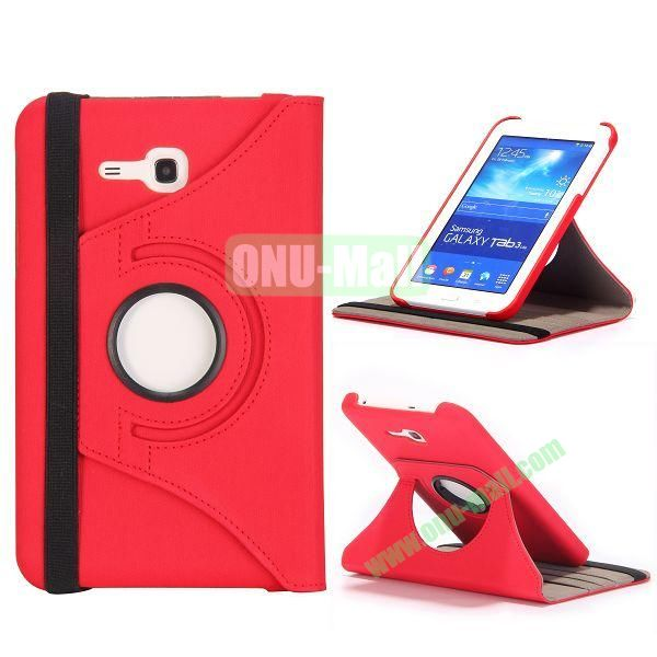 360 Rotation Cowboy Cloth Texture Leather Cover for Samsung Galaxy Tab 3 Lite T110 T111 (Red)