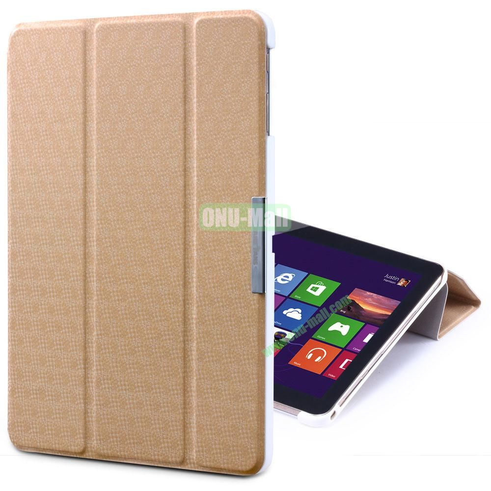 TakeFans Charm Series Flip Leather Cover for Samsung Galaxy Tab 3 Lite T110 T111 (Gold)