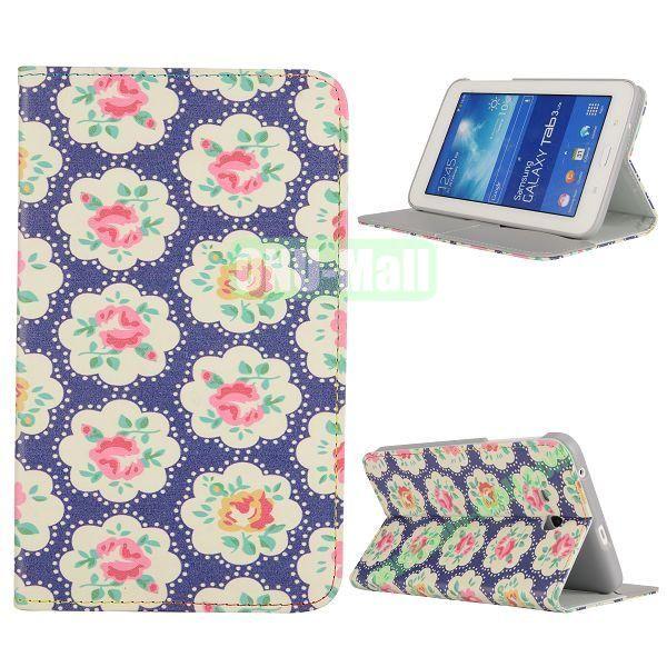 Newest Elegant Flower Pattern Flip Leather Case for Samsung Galaxy Tab 3 Lite T110 (Blue)