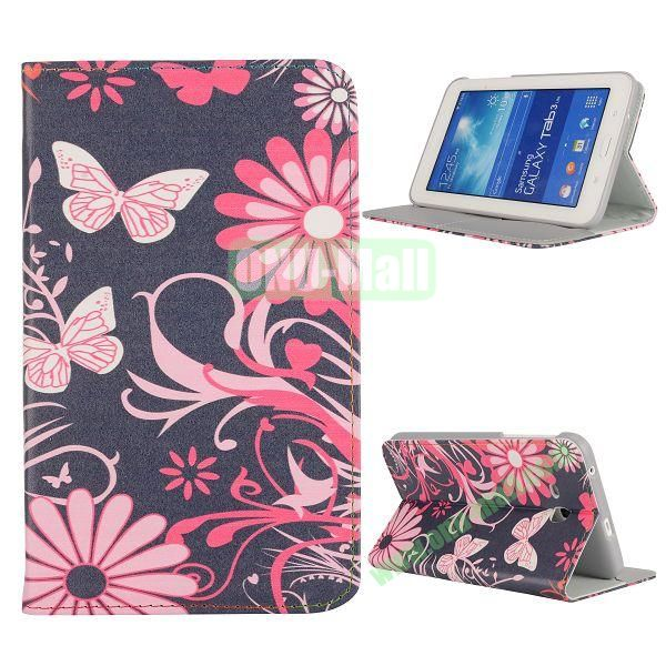 Newest Elegant Flower Pattern Flip Leather Case for Samsung Galaxy Tab 3 Lite T110 (Flower and Butterfly)