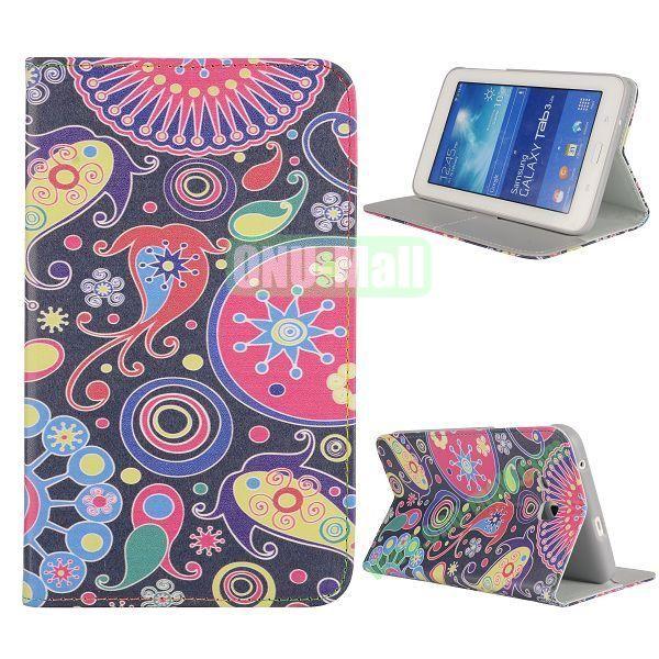 Newest Elegant Flower Pattern Flip Leather Case for Samsung Galaxy Tab 3 Lite T110 (Colorful flower)
