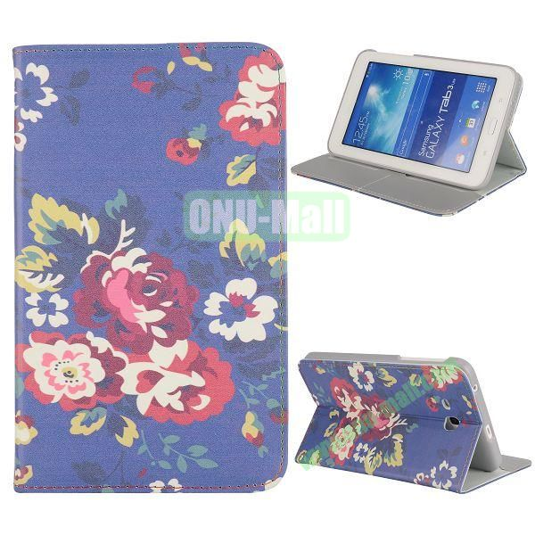 Newest Elegant Flower Pattern Flip Leather Case for Samsung Galaxy Tab 3 Lite T110 (Beautiful Flower)