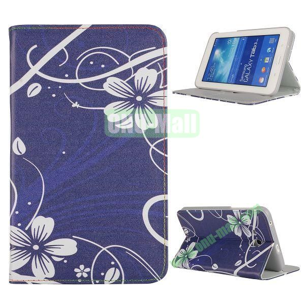 Newest Elegant Flower Pattern Flip Leather Case for Samsung Galaxy Tab 3 Lite T110 (Cute Flower)