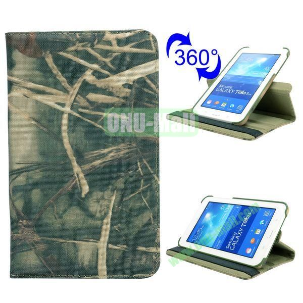 360 Rotating Retro Pattern Cloth Texture Flip Leather Case for Samsung Galaxy Tab 3 Lite T110 ( Withered Grass)