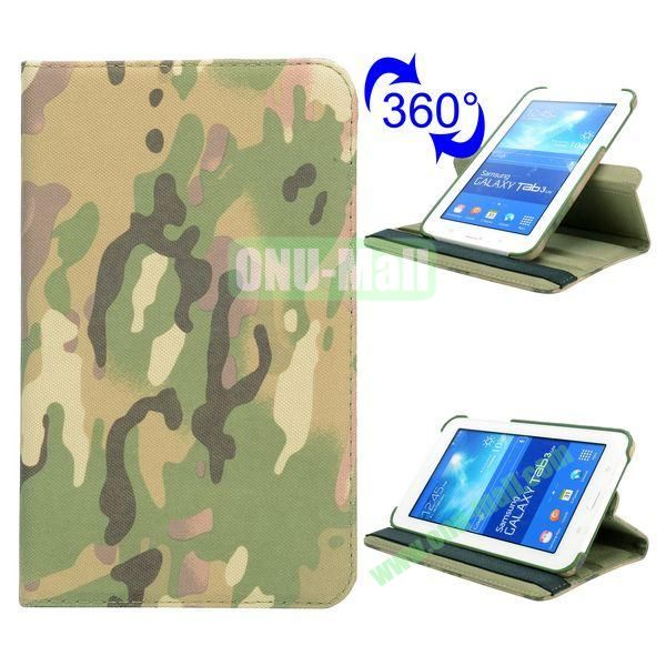 360 Rotating Retro Pattern Cloth Texture Flip Leather Case for Samsung Galaxy Tab 3 Lite T110 (Camouflage)