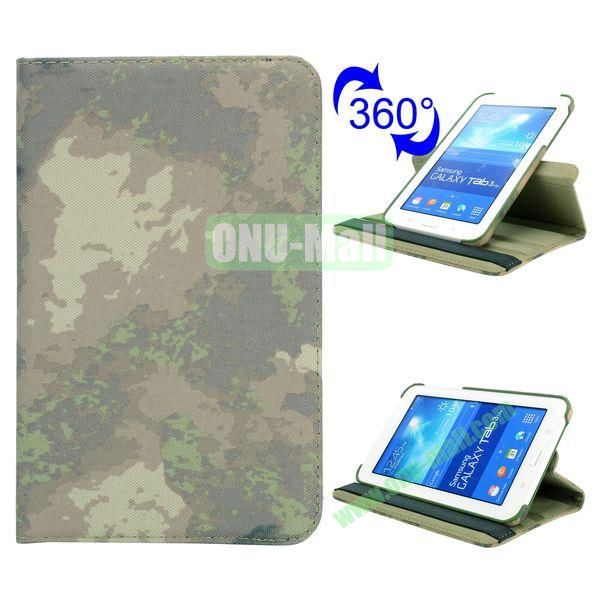 360 Rotating Retro Pattern Cloth Texture Flip Leather Case for Samsung Galaxy Tab 3 Lite T110 (Grey Camouflage)