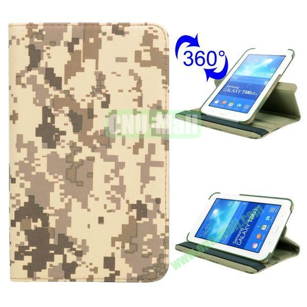 360 Rotating Retro Pattern Cloth Texture Flip Leather Case for Samsung Galaxy Tab 3 Lite T110 (Mosaic Camouflage)