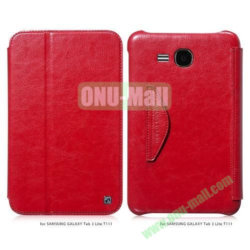 HOCO Retro Series Crystal Texture Flip Leather Cover for Samsung Galaxy Tab 3 Lite T110 T111 ( Red )