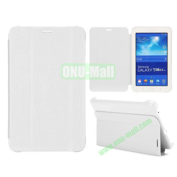 3 Folding Magnetic Stand Flip Leather Case Cover for Samsung Galaxy Tab 3 Lite T110 T111 (White)
