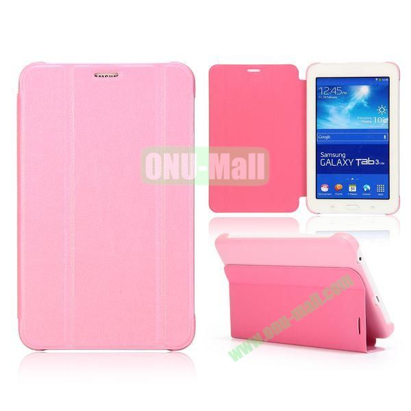 3 Folding Magnetic Stand Flip Leather Case Cover for Samsung Galaxy Tab 3 Lite T110 T111 (Pink)