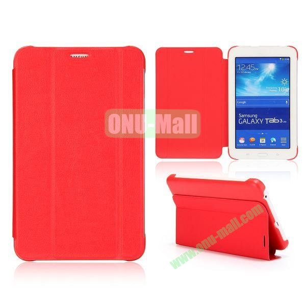 3 Folding Magnetic Stand Flip Leather Case Cover for Samsung Galaxy Tab 3 Lite T110 T111 (Red)