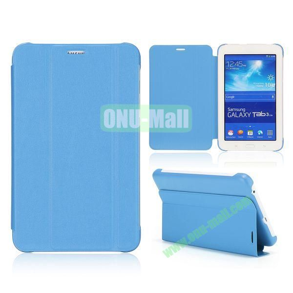 3 Folding Magnetic Stand Flip Leather Case Cover for Samsung Galaxy Tab 3 Lite T110 T111 (Blue)