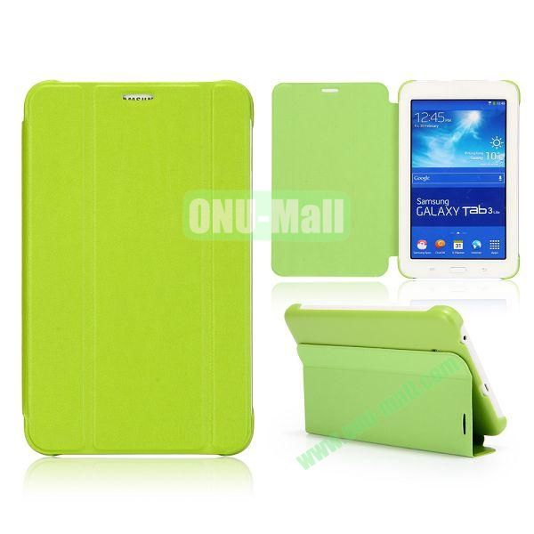 3 Folding Magnetic Stand Flip Leather Case Cover for Samsung Galaxy Tab 3 Lite T110 T111 (Green)