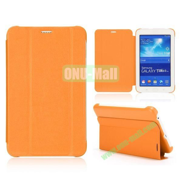3 Folding Magnetic Stand Flip Leather Case Cover for Samsung Galaxy Tab 3 Lite T110 T111 (Orange)