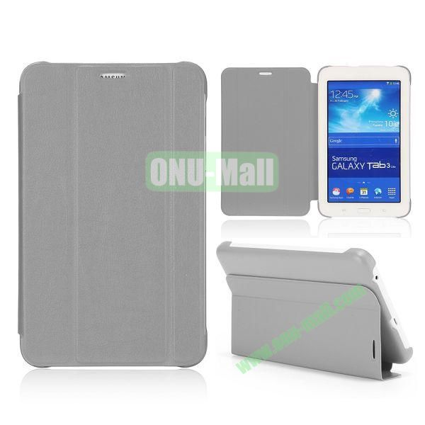 3 Folding Magnetic Stand Flip Leather Case Cover for Samsung Galaxy Tab 3 Lite T110 T111 (Grey)