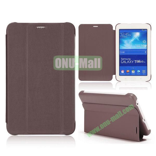 3 Folding Magnetic Stand Flip Leather Case Cover for Samsung Galaxy Tab 3 Lite T110 T111 (Coffee)
