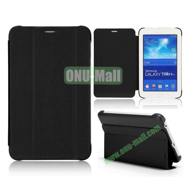 3 Folding Magnetic Stand Flip Leather Case Cover for Samsung Galaxy Tab 3 Lite T110 T111 (Black)