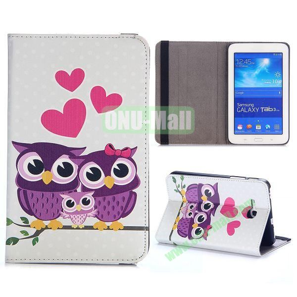 Cute Pattern PC and PU Leather Cover for Samsung Galaxy Tab 3 Lite T110 T111 (Lovely Purple Owl Family)