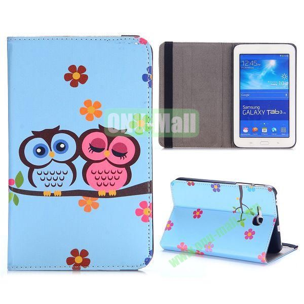 Cute Pattern PC and PU Leather Cover for Samsung Galaxy Tab 3 Lite T110 T111 (Blue Owl and Red Owl)