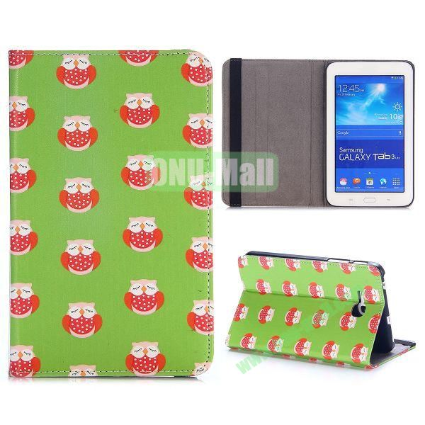 Cute Pattern PC and PU Leather Cover for Samsung Galaxy Tab 3 Lite T110 T111 (Lovely Owls)