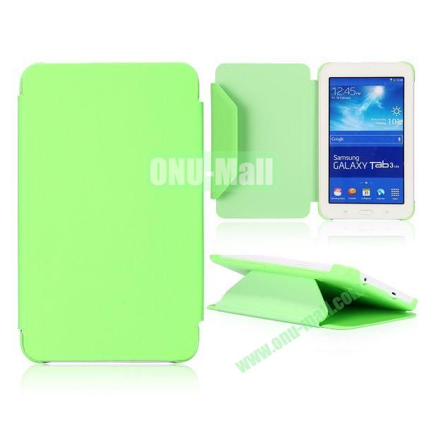 Cloth Texture Flip Stand PC + Leather Case for Samsung Galaxy Tab 3 Lite  T110  T111 (Green)
