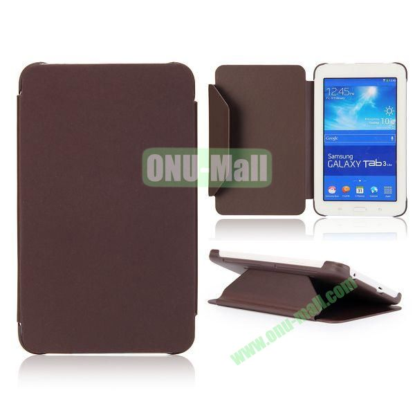 Cloth Texture Flip Stand PC + Leather Case for Samsung Galaxy Tab 3 Lite  T110  T111 (Brown)