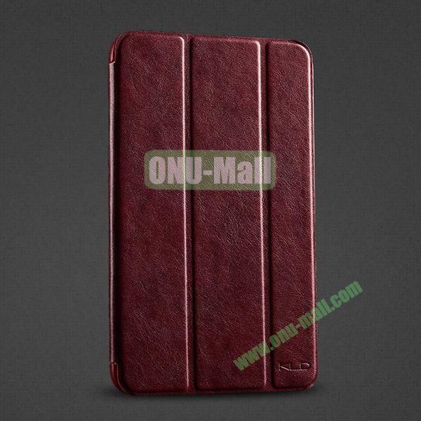 KLD OSCAR Series Foldable Flip Stand Leather Case for Samsung Galaxy Tab 3 Lite T110 T111 with Smart Wake Sleep (Dark Red)