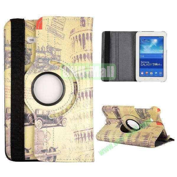 360 Degree Rotatable Leather Case for Samsung Galaxy Tab 3 Lite  T110  T111 (Leaning Tower Pattern)