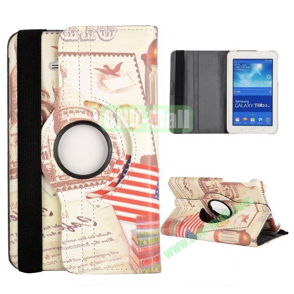 360 Degree Rotatable Leather Case for Samsung Galaxy Tab 3 Lite  T110  T111 (White Palace and Book Pattern)