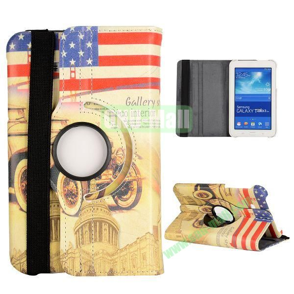360 Degree Rotatable Leather Case for Samsung Galaxy Tab 3 Lite  T110  T111 (USA Flag and White Palace)