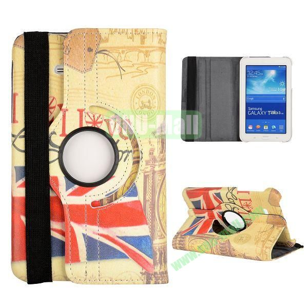 360 Degree Rotatable Leather Case for Samsung Galaxy Tab 3 Lite  T110  T111 (UK Flag and Big Ben Pattern)