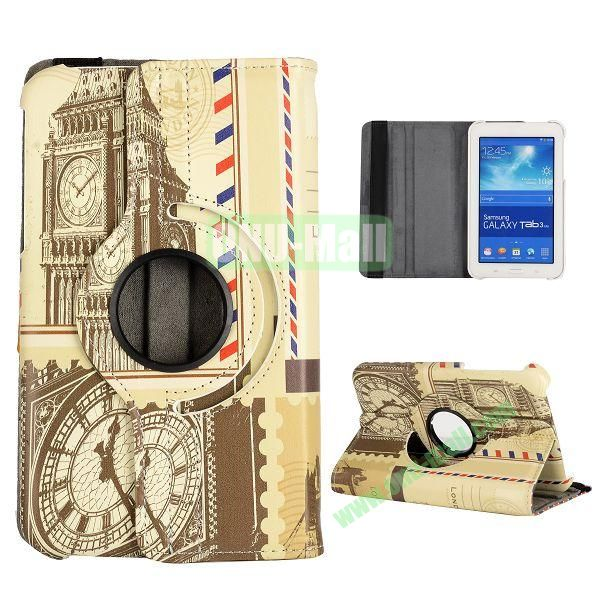 360 Degree Rotatable Leather Case for Samsung Galaxy Tab 3 Lite  T110  T111 (Big Ben Pattern)