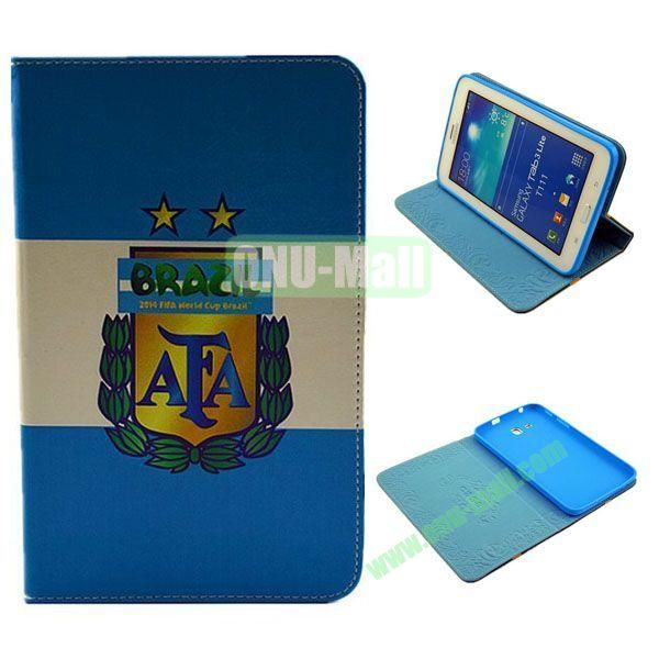 2014 FIFA World Cup Pattern TPU + PU Leather Case for Samsung T110 Galaxy Tab 3 Lite (AFA)