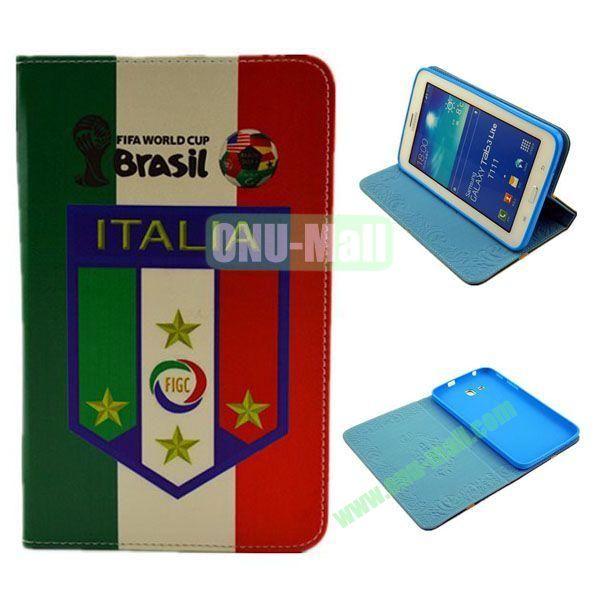 2014 FIFA World Cup Pattern TPU + PU Leather Case for Samsung T110 Galaxy Tab 3 Lite (Italia)