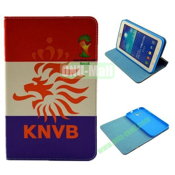 2014 FIFA World Cup Pattern TPU + PU Leather Case for Samsung T110 Galaxy Tab 3 Lite (Knvb)